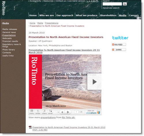 Rio Tinto uses slideshare and Twitter